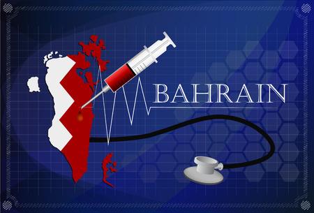 bahrain: Map of Bahrain with Stethoscope and syringe. Illustration