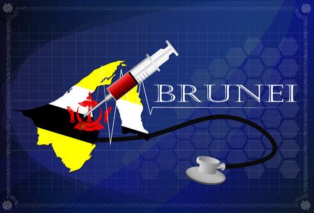 map of brunei: Map of Brunei with Stethoscope and syringe.