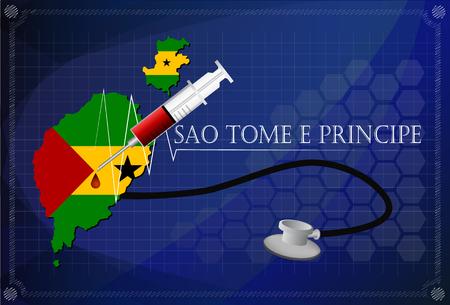 principe: Mapa de Santo Tomé y Príncipe con el estetoscopio y una jeringa.