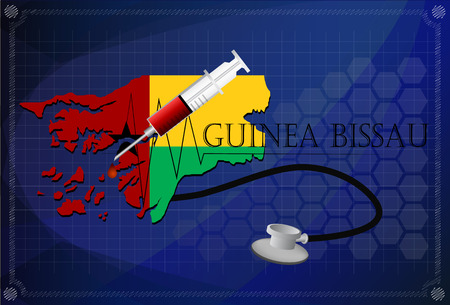 guinea bissau: Map of Guinea bissau with Stethoscope and syringe.