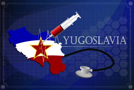 yugoslavia: Map of Yugoslavia with Stethoscope and syringe. Illustration