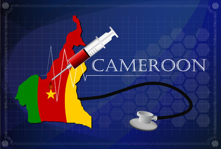 cameroon: Map of Cameroon with Stethoscope and syringe. Illustration