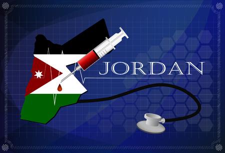 jordanian: Map of Jordan with Stethoscope and syringe.