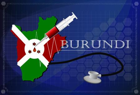 burundi: Map of Burundi with Stethoscope and syringe.
