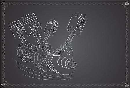 Piston de moteur. Dessiné à la main, sur un tableau noir de fond Vecteurs