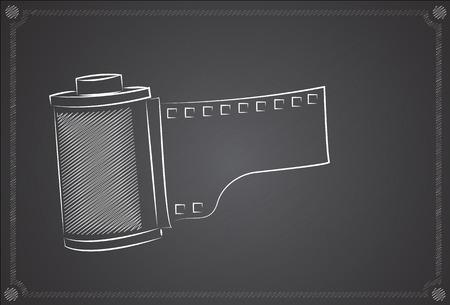 camera film: Camera film roll on the blackboard Illustration