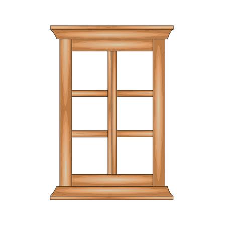 panes: Wooden  window. Vector illustration. Illustration