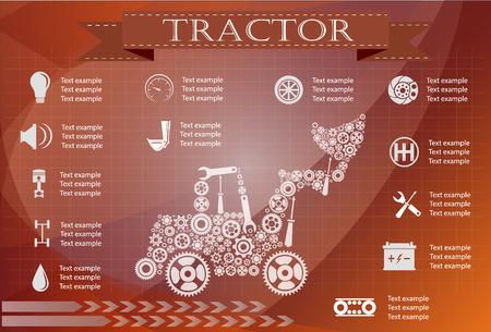 main: Tractor service, repair Infographics. vector illustration Illustration