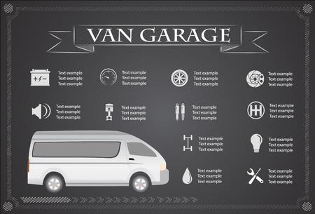 main part: van service, repair Infographics. vector illustration Illustration