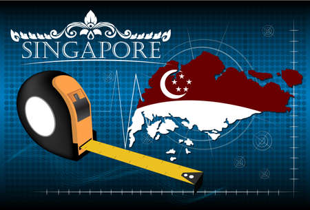 image size: Map of Singapore with ruler, vector. Illustration