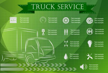 truck repair: Truck service, repair Infographics. vector illustration