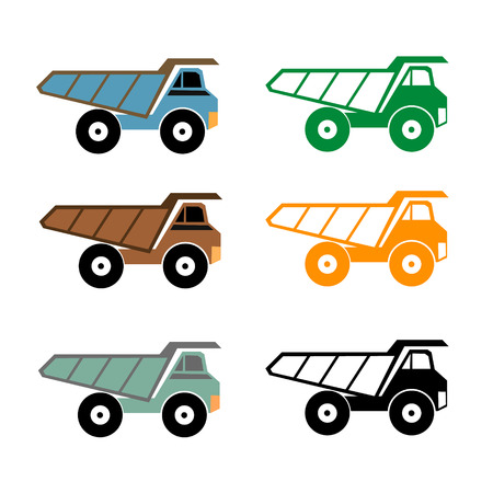 over sized: Dump truck icon, vector illustration
