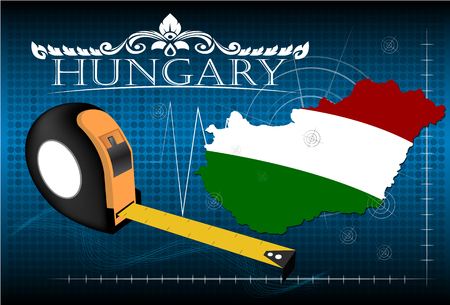 image size: Map of Hungary with ruler, vector.