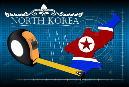 Map of North korea with ruler, vector.