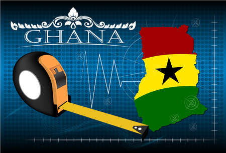 image size: Map of Ghana with ruler, vector.