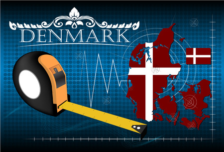 image size: Map of Denmark with ruler, vector. Illustration