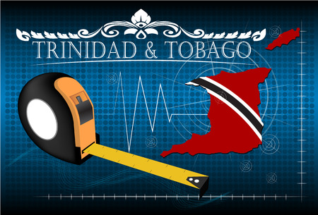 trinidad and tobago: Map of Trinidad & tobago with ruler, vector.