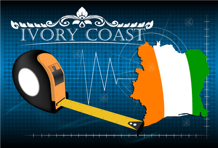 ivory: Map of Ivory coast with ruler, vector. Illustration