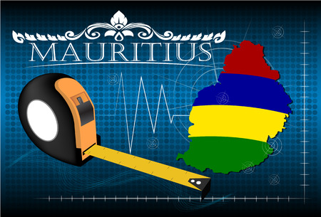 mauritius: Map of Mauritius with ruler, vector.