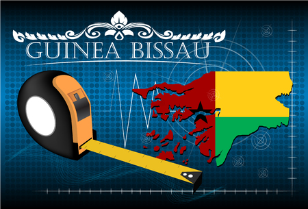guinea bissau: Map of Guinea bissau with ruler, vector.