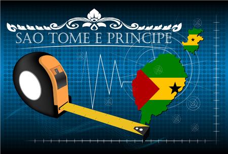 principe: Mapa de Santo Tomé y Príncipe con regla, vector. Vectores
