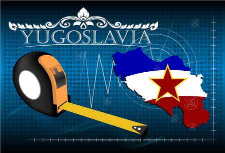 image size: Map of Yugoslavia with ruler, vector. Illustration