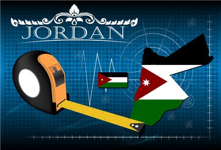 jordanian: Kaart van Jordanië met liniaal, vector. Stock Illustratie