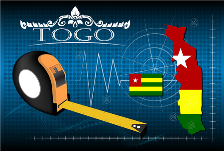 image size: Map of Togo with ruler, vector.