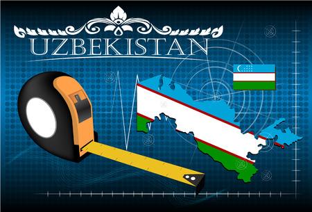 oezbekistan: Map of Uzbekistan with ruler, vector.