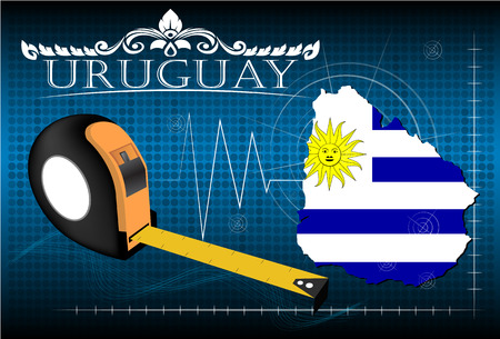 image size: Map of Uruguay with ruler, vector. Illustration