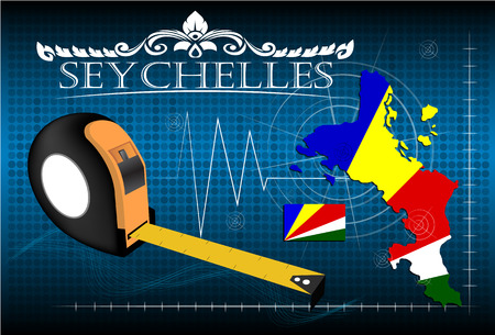 Map of Seychelles with ruler, vector.