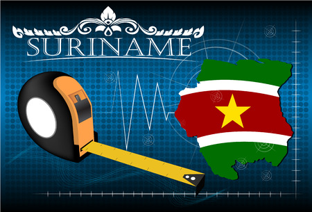 suriname: Map of Suriname with ruler, vector.