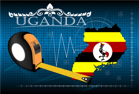 image size: Map of Uganda with ruler, vector.