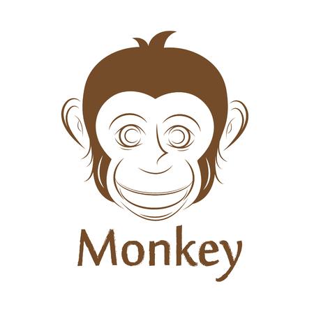face to face: Monkey face, illustration Illustration