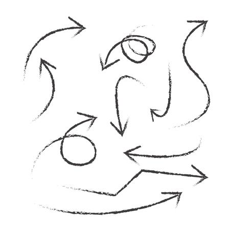 lijntekening: zacht gebogen lijnen en pijlen, zachte hand tekenen, vector set arows op een witte achtergrond Stock Illustratie