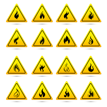 Fire warning sign in yellow triangle. Flammable, inflammable substances icon. Vector Illustration