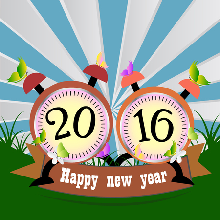 number 12: New year 2016 text design with clock on orange background.