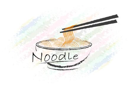 saludable logo: dise�o del logotipo de fideos