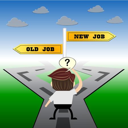 opposed: metaphor humour design , New job vs old job choice road sign concept,