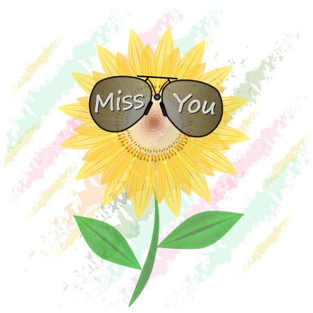 miss you: Sunflower  with alphabet  Miss you, illustration summer bright natural flora beautiful white