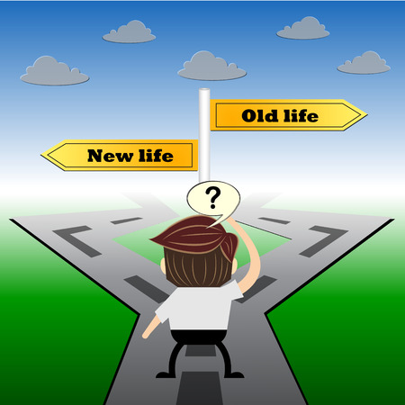 passing the road: metaphor humour design , New life and old life choice road sign concept,