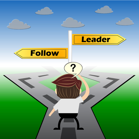 follow the leader: metaphor humour design , Leader and Follow choice road sign concept,