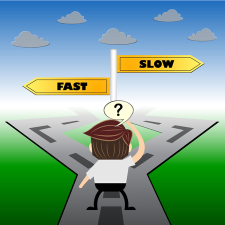 pace: metaphor humour design ,  fast or slow choice road sign concept,