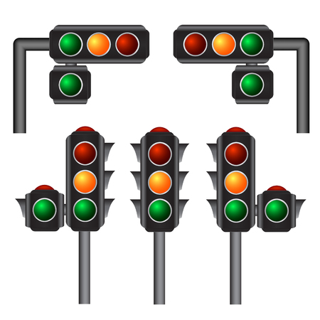 light red: Traffic lights Vector Illustration, 10eps Illustration