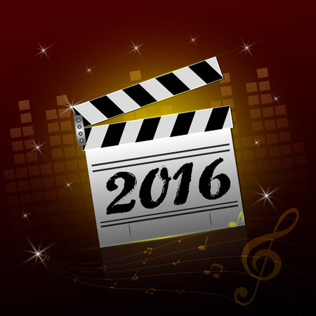 hollywood christmas: Illustration of  clapper board with a 2016 sign