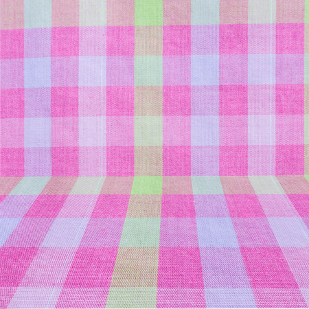 Pink Classic Checkered Tablecloth Texture, Background With Copy Space.  Stock Photo   52090526