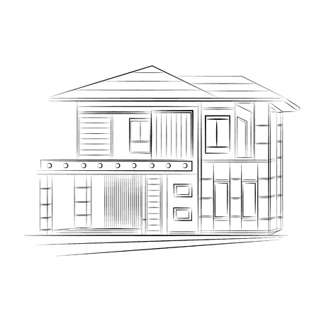 front of house: 3D rendering wire-frame of house. White background