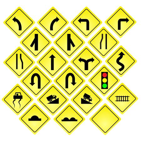 gele verkeersborden, vector verkeersborden set op een witte achtergrond