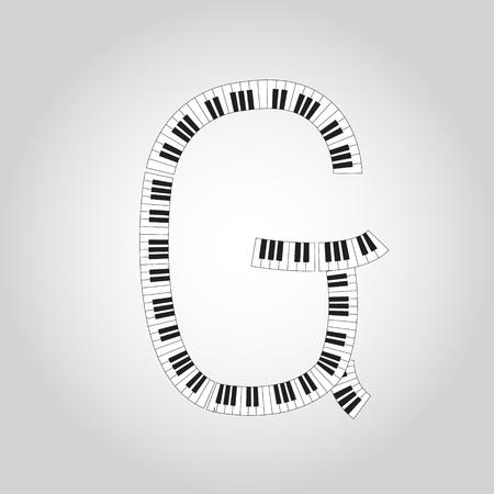key words art: Abstract vector alphabet -  G  made from  piano - alphabet set