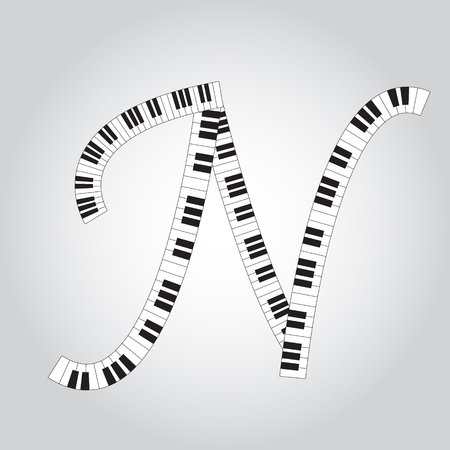 Abstract vector alphabet -  N  made from  piano - alphabet set